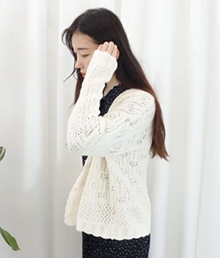 Scalloped Edge Patterned Knit Cardigan