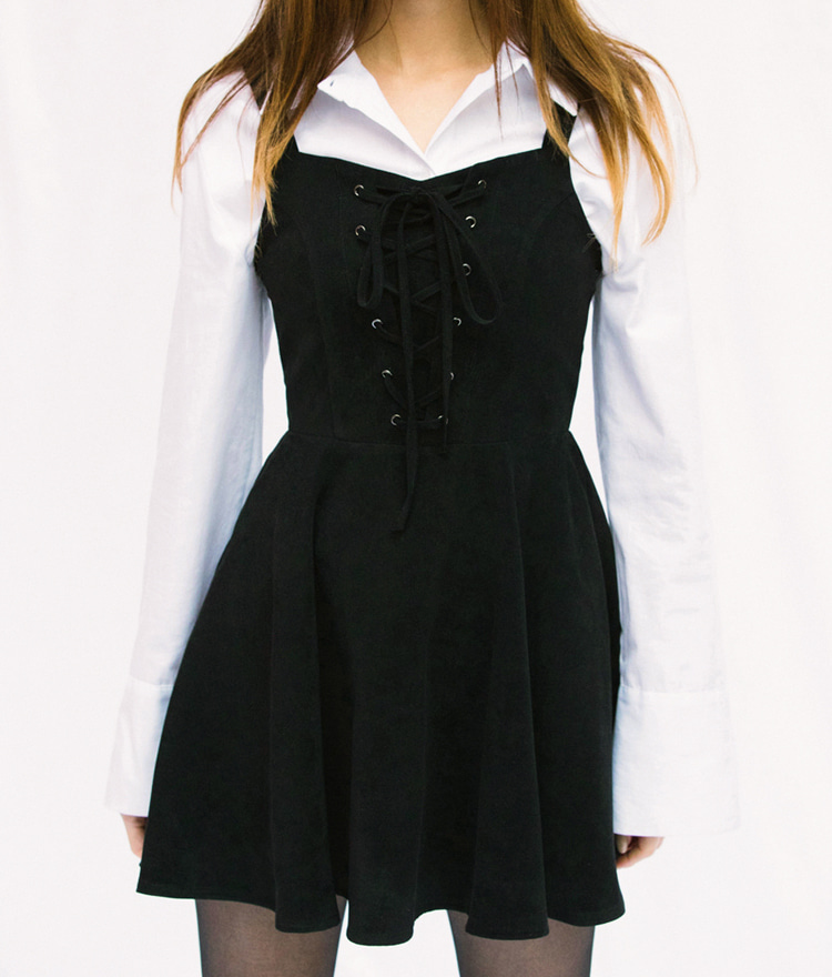 Lace-Up Front Flared Sleeveless Dress