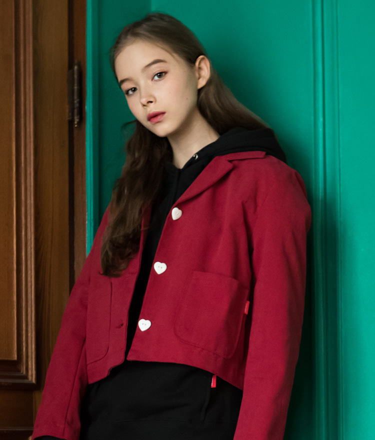 HEART CLUBHeart Button Notch Collar Jacket