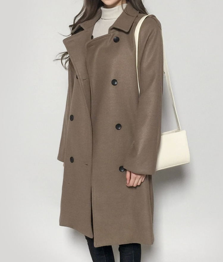Wide Lapel Double Breasted Coat