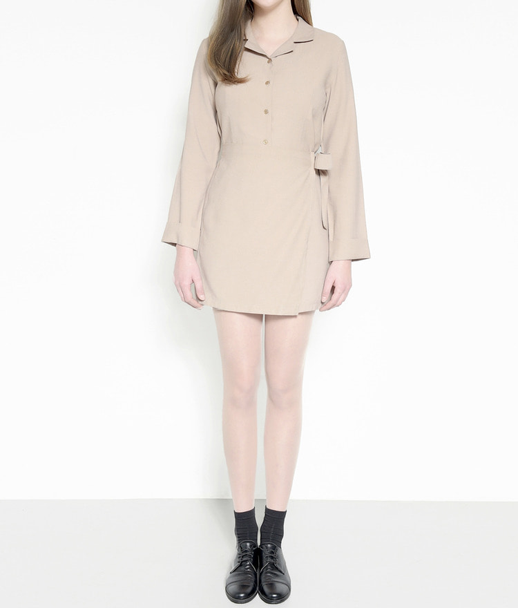 Tie-Waist Notched Collar Shirt Dress