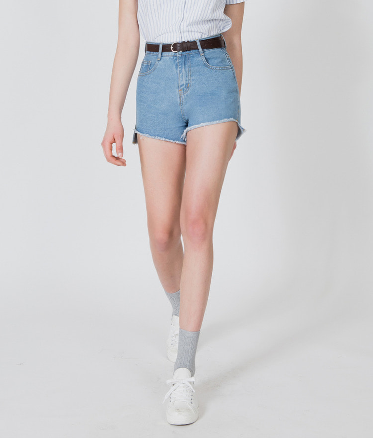 BAUHAUSHigh-Low Frayed Hem Denim Shorts