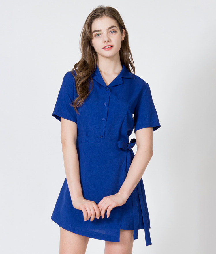 Short Sleeve Shirt Wrap Dress