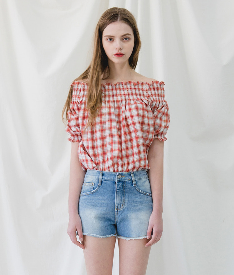 ROMANTIC MUSEPuff Sleeve Check Blouse