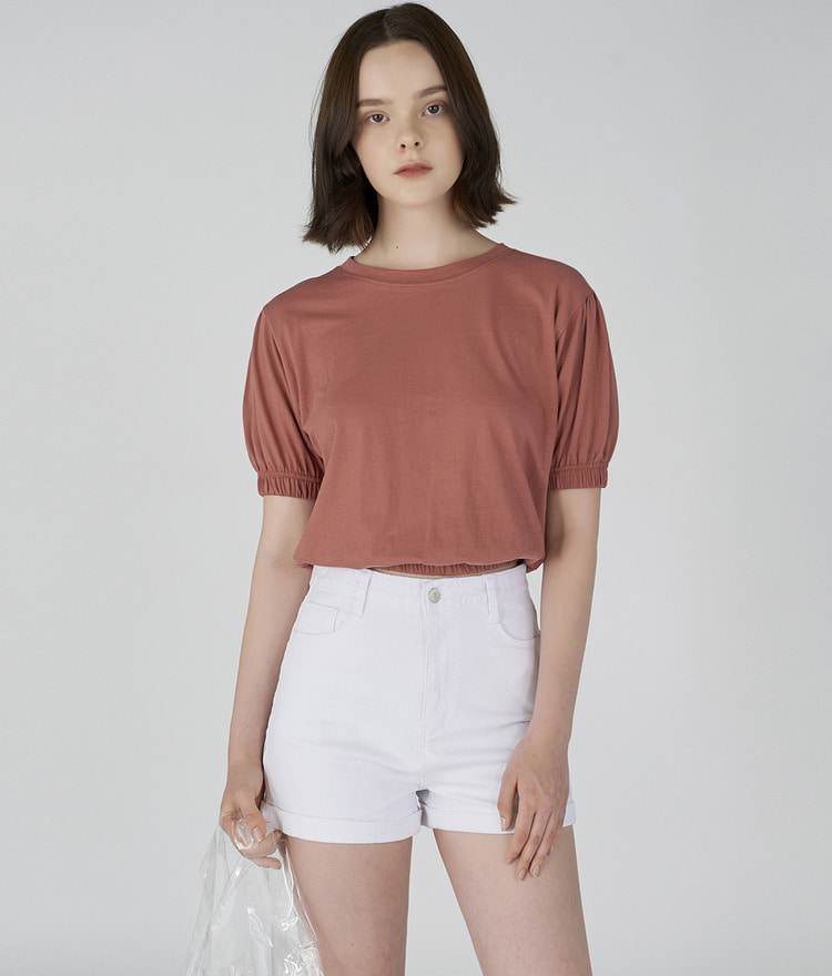 ESSAYPuff Sleeve Short Sleeve Top