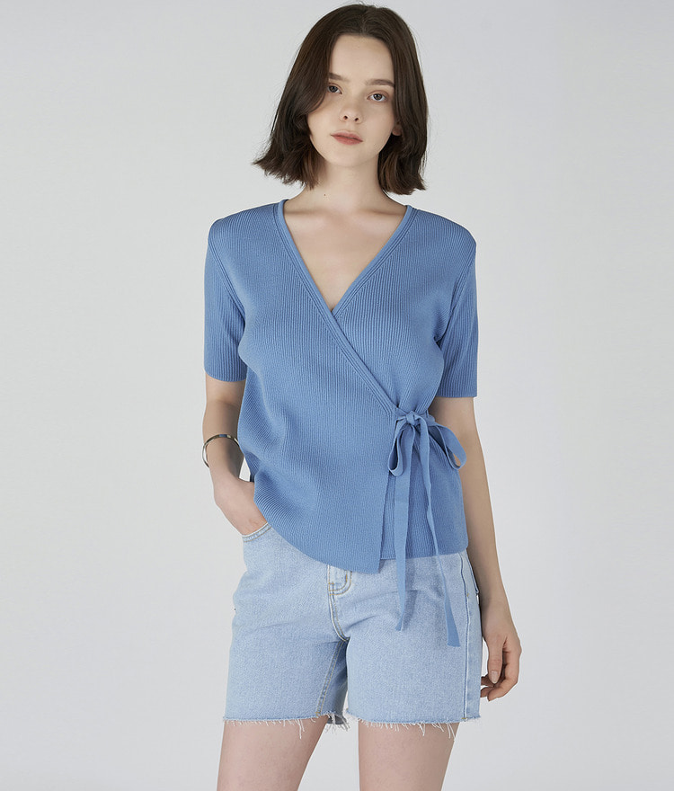 ESSAYShort Sleeve Wrap Top