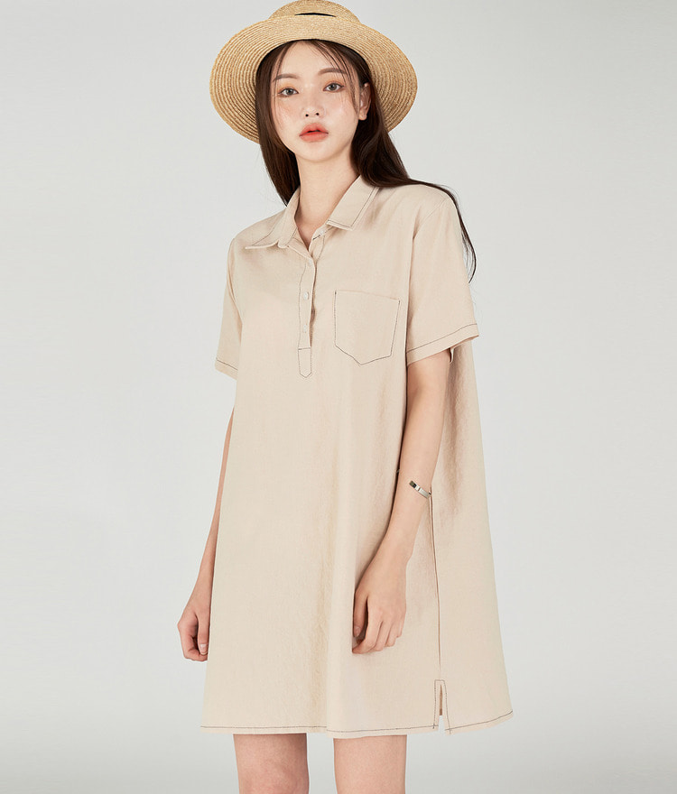 ESSAYButton-Up Contrast Stitch Dress