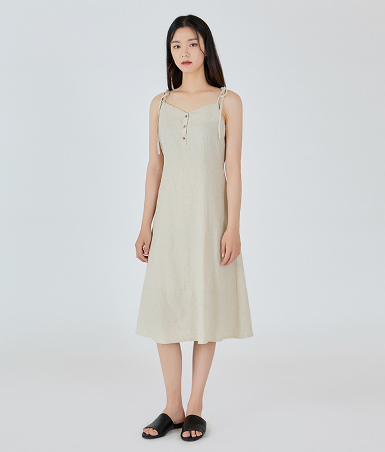 ESSAYSelf-Tie Strap A-Line Midi Dress