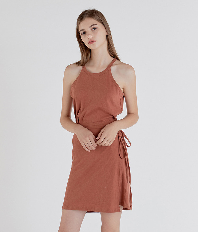 ESSAYHalter Neck Tie-Waist Wrap Dress