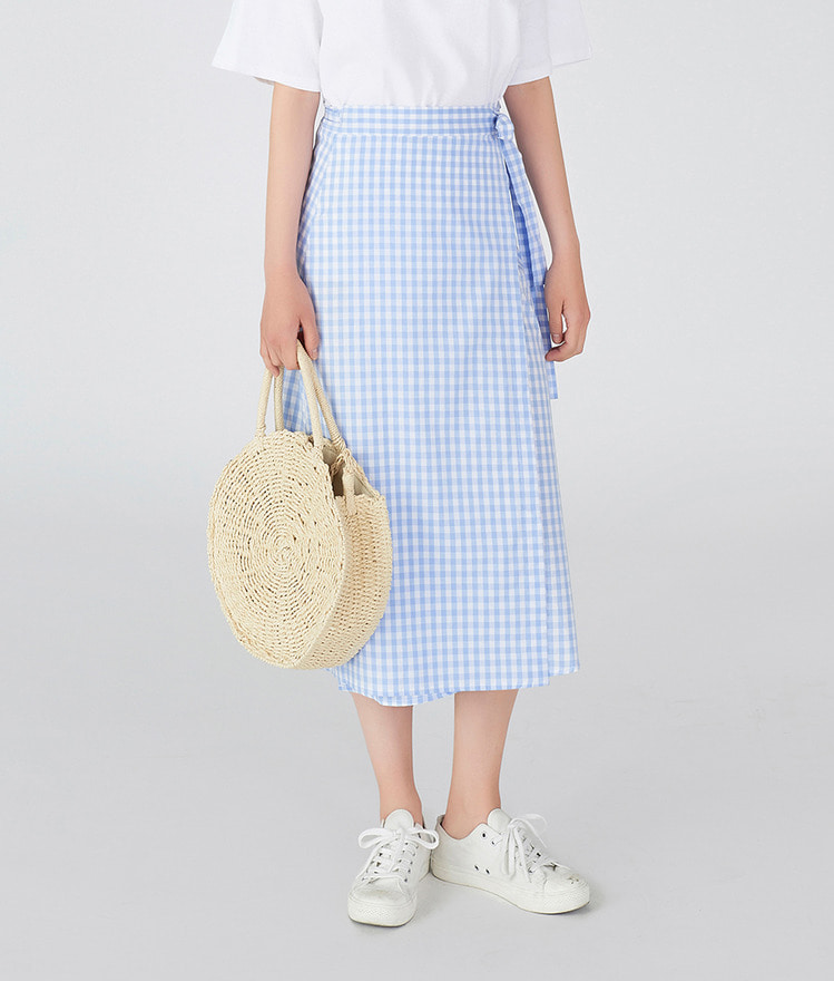 ESSAYGingham Check Wrap Skirt