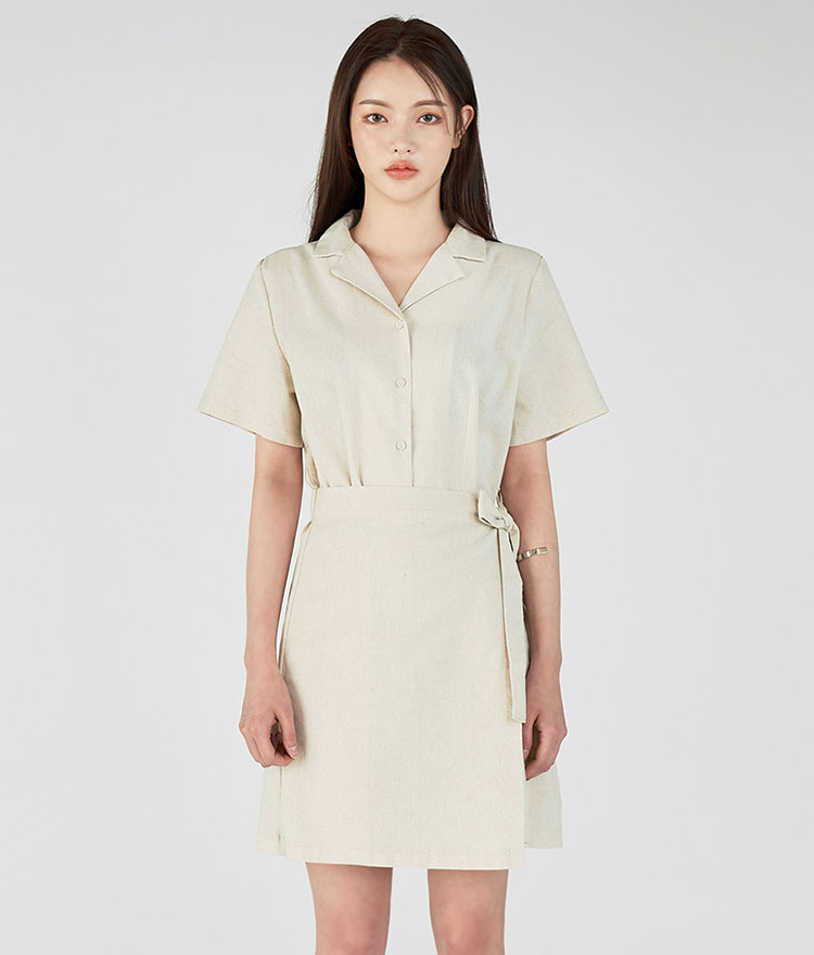 ESSAYNotched Collar Tie Waist Shirt Dress