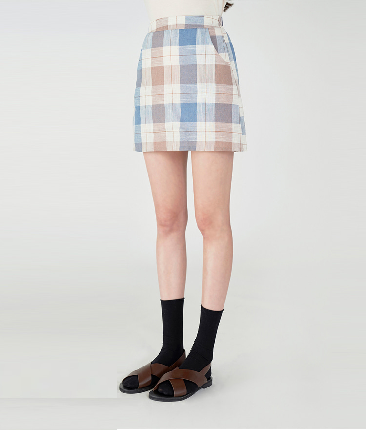 ESSAYElastic Waistband Check Skirt