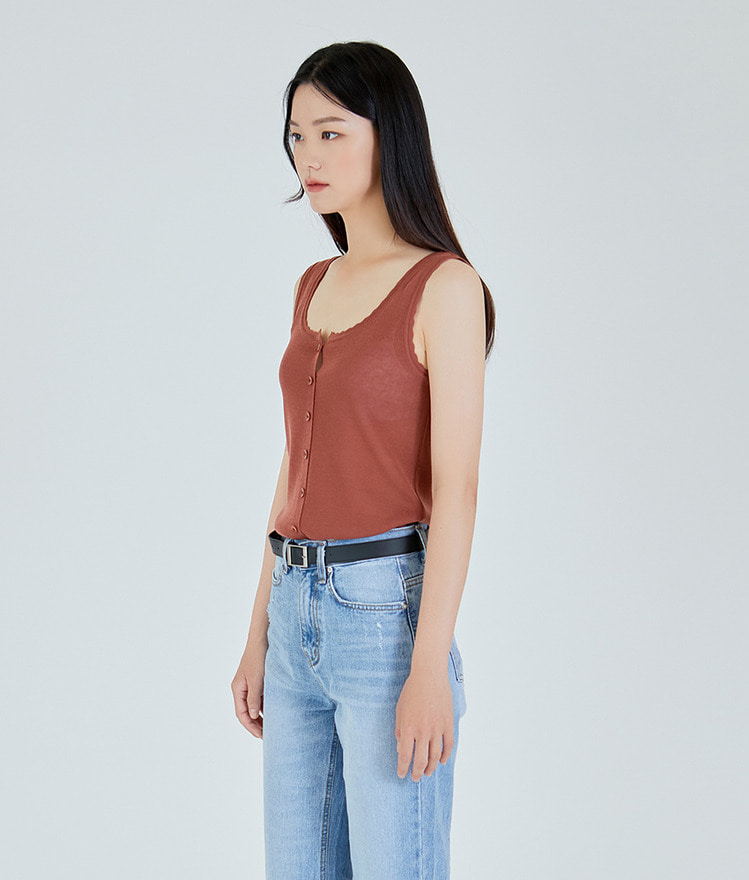 ESSAYScallop Trim Button-Up Sleeveless Top