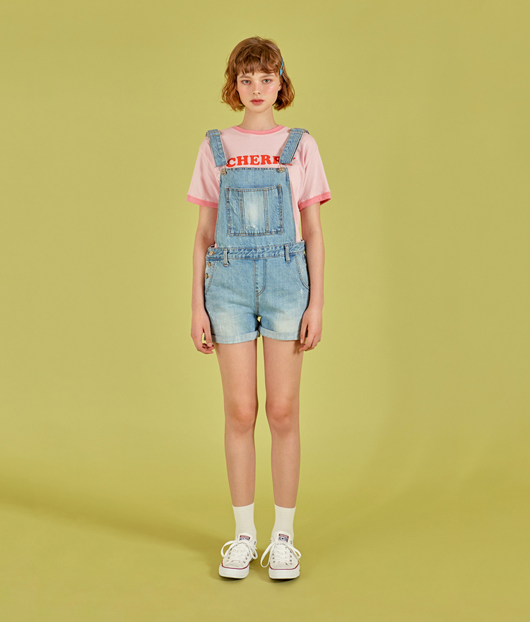 NEVERM!NDCuffed Denim Overall Shorts