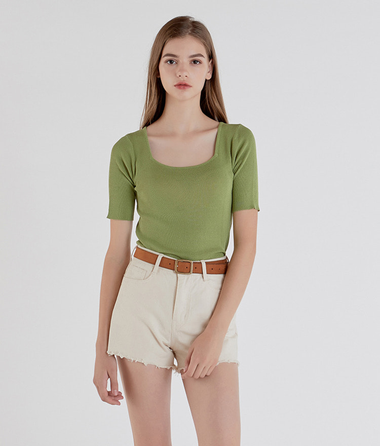 ESSAYSquare Neck Short Sleeve Knit Top