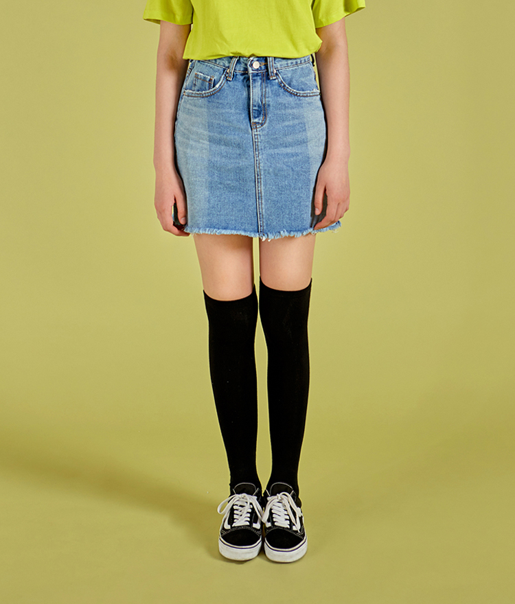 NEVERM!NDContrast Color Denim Skirt