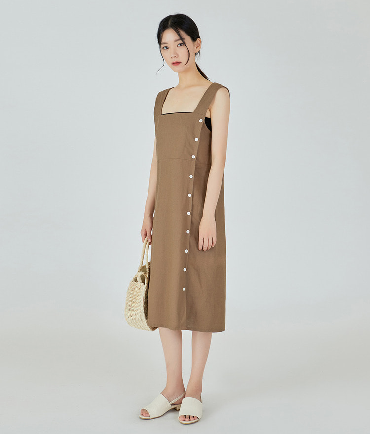 ESSAYSide Button Square Neck Dress