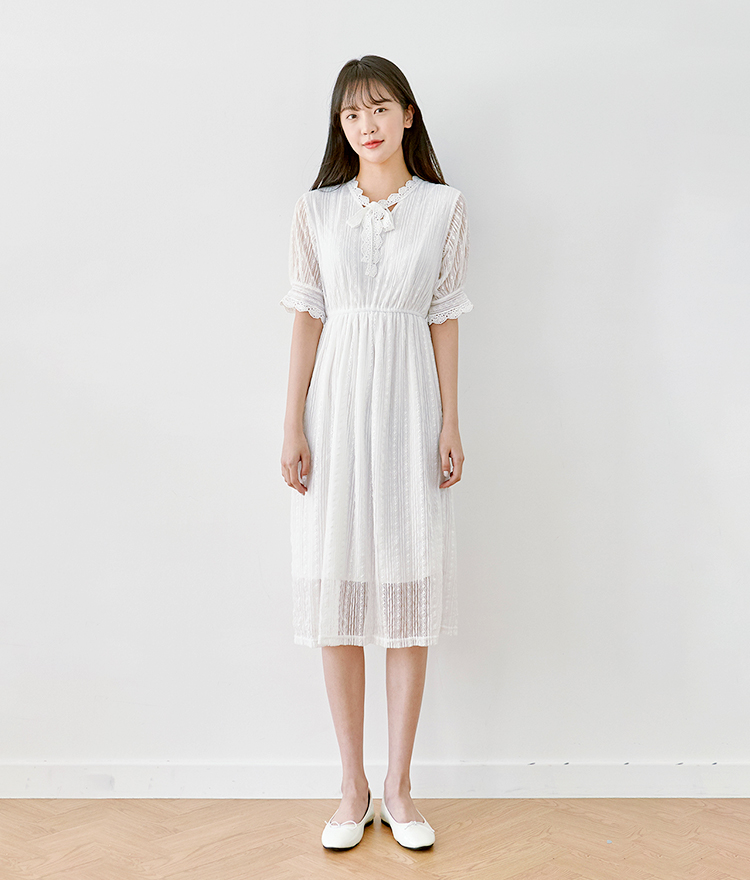 ROMANTIC MUSE  Short Sleeve Lace Dress