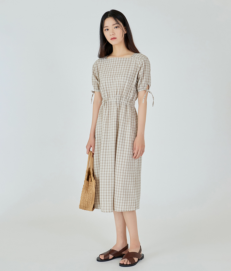 ESSAYSquare Neck Tie Sleeve Check Dress
