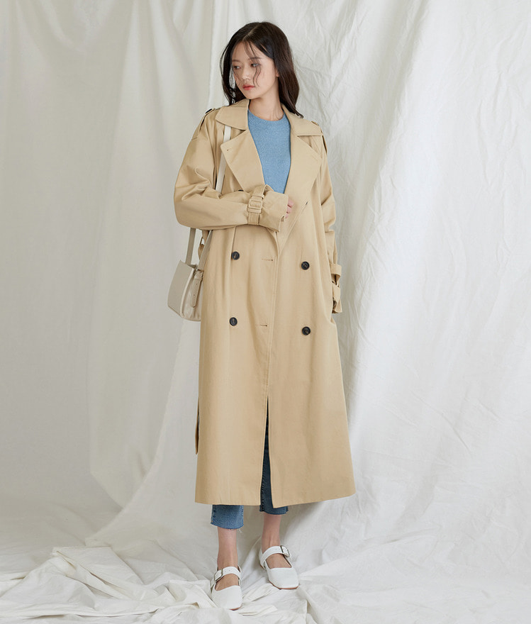 ESSAYDouble Breasted Long Trench Coat