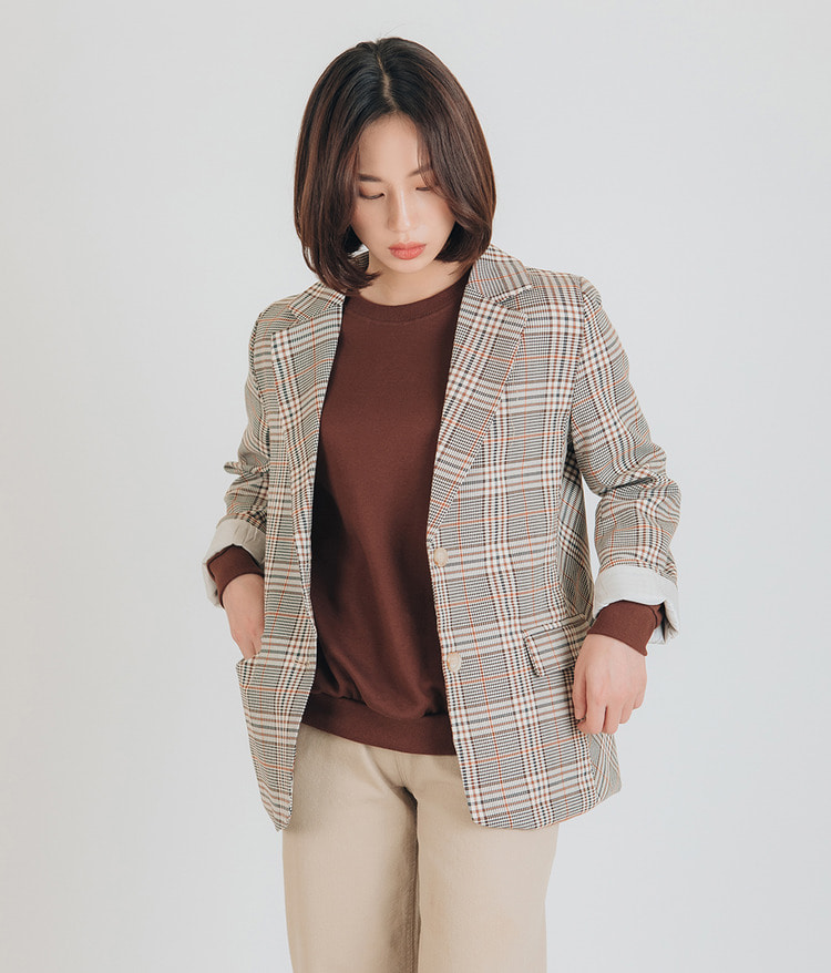 ESSAYSingle Breasted Check Blazer