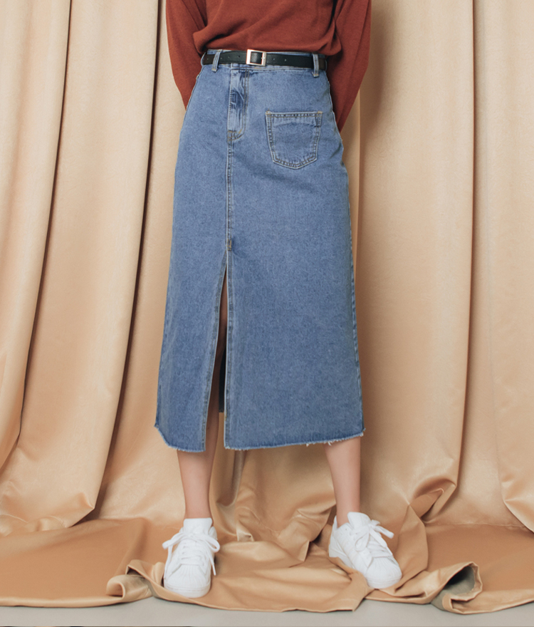 QUIETLABSlit Hem Long Denim Skirt