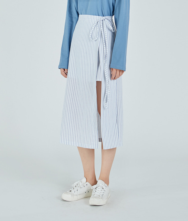 ESSAYTie-Waist Long Stripe Skirt
