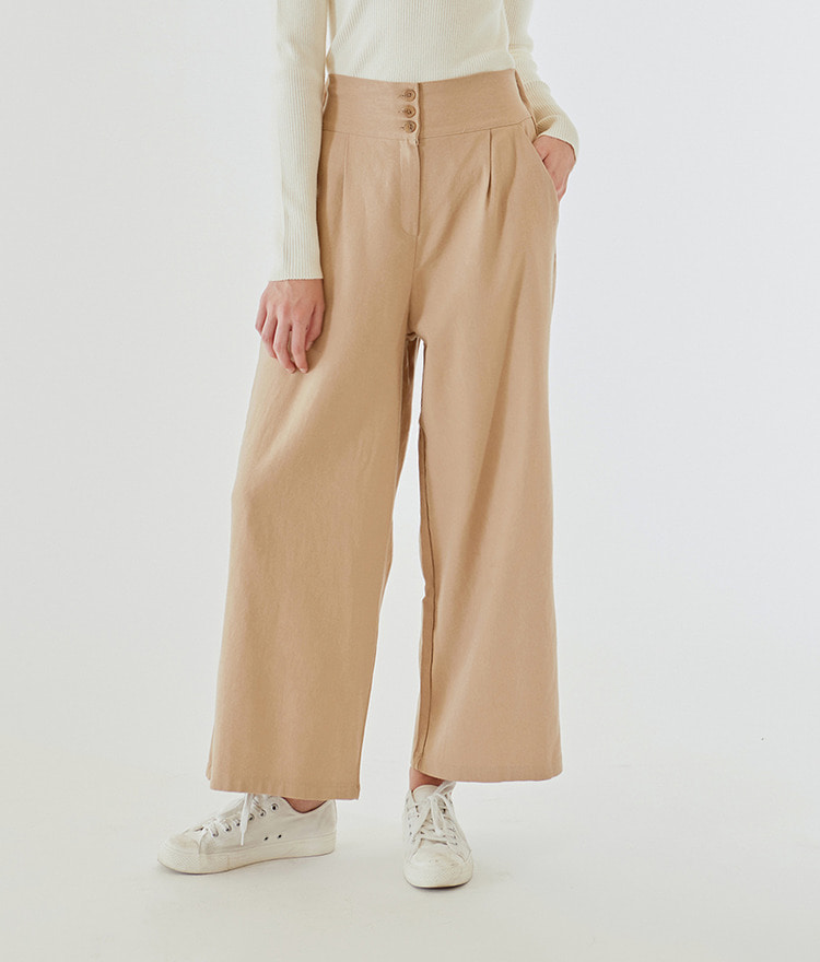 ESSAYButton-Up Semi Elastic Waistband Wide Leg Pants