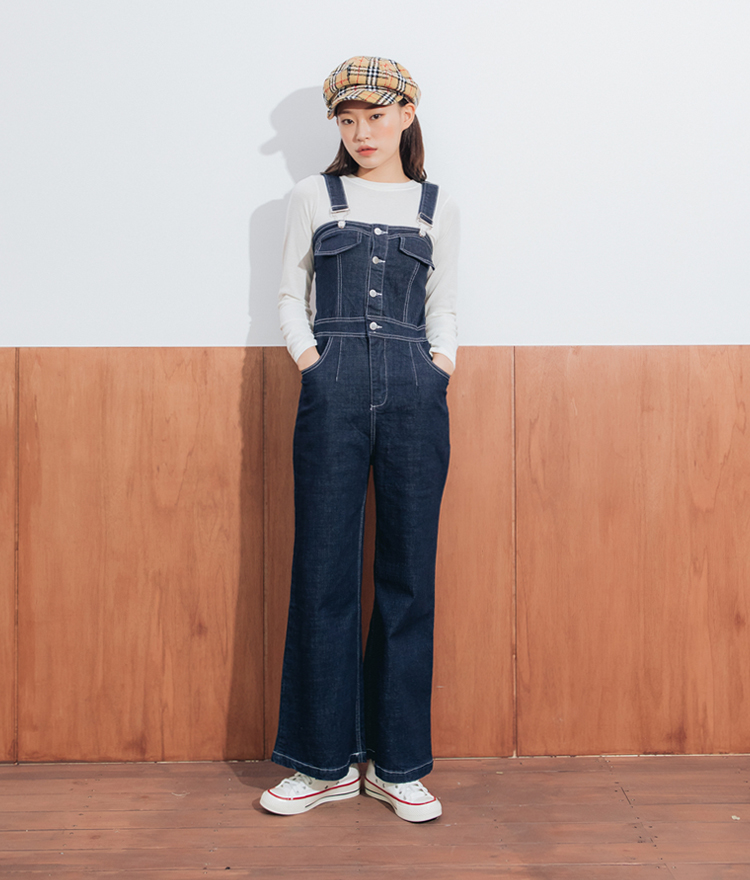 QUIETLABContrast Stitch Slim Fit Overalls