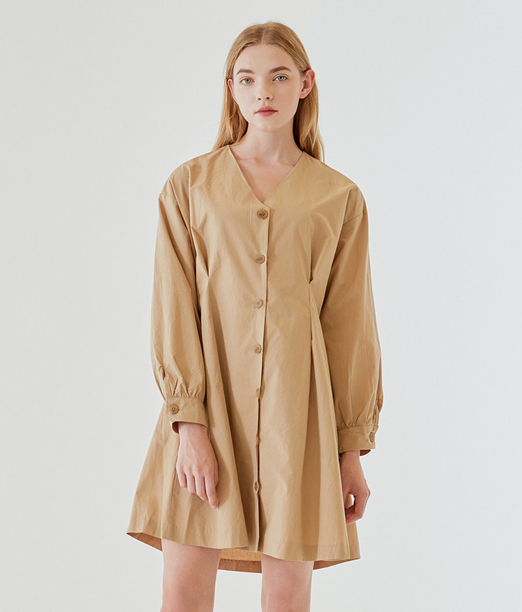 ESSAYV-Neck Pleated Trench Dress