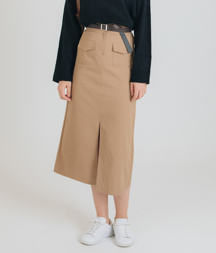 ESSAYFlap Pocket Front Slit Skirt