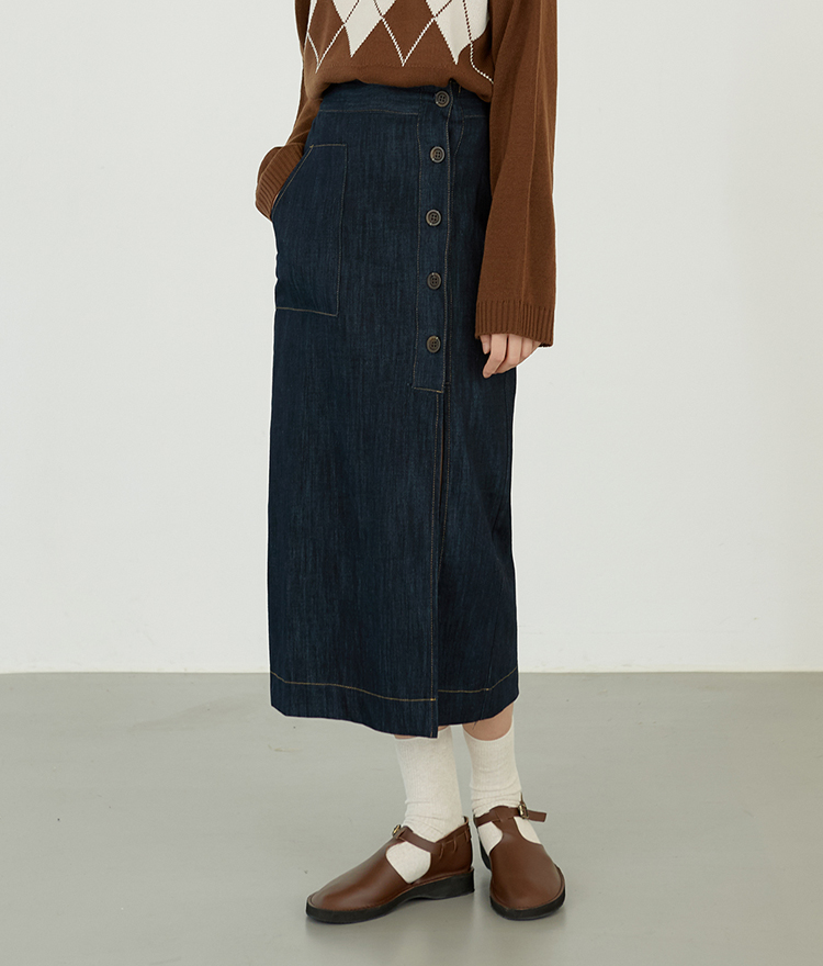 ESSAYOff-Center Button Denim Skirt