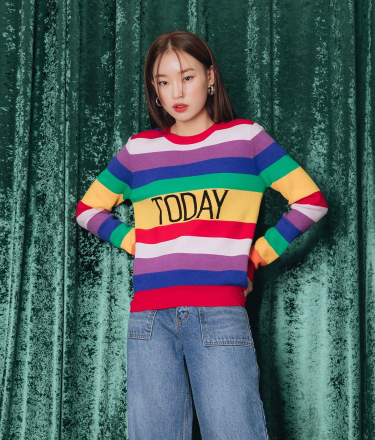QUIETLABLettering Stripe Knit Top
