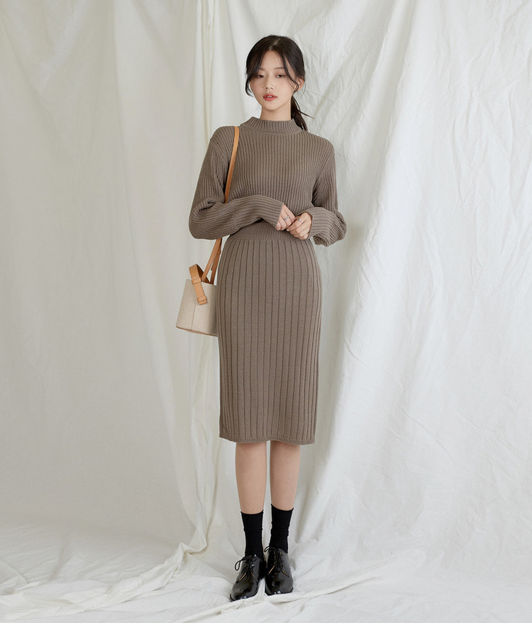 ESSAYRibbed Midi Knit Skirt