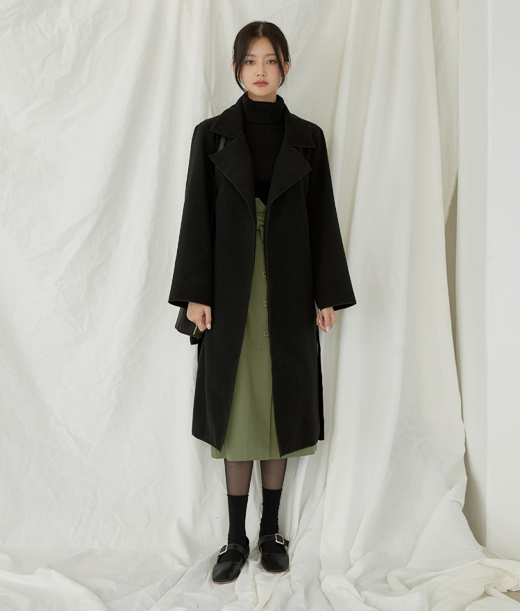 Notched Collar Long Coat