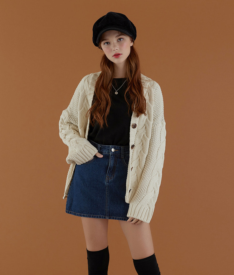 NEVERM!ND Slit Hem Cable Knit Cardigan