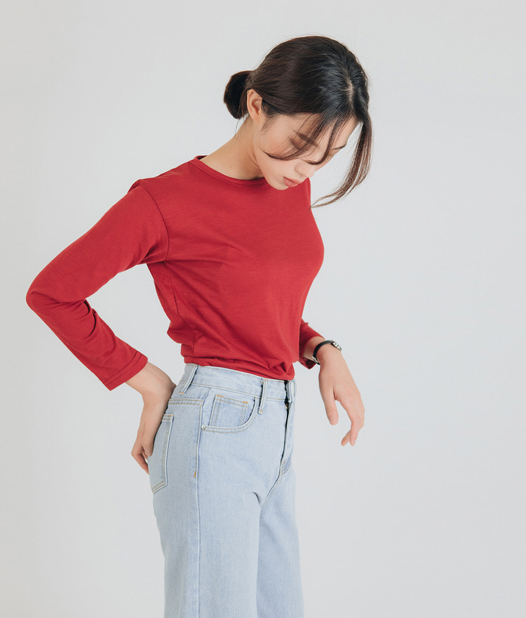 ESSAYSolid Tone Long Sleeve Top