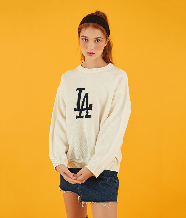 NEVERM!NDDrop Shoulder Lettering Knit Top
