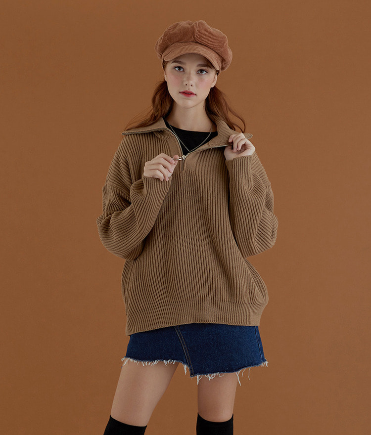 NEVERM!ND Quarter Zip Ribbed Knit Top