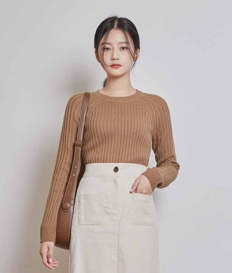 ESSAYRound Neck Ribbed Knit Top