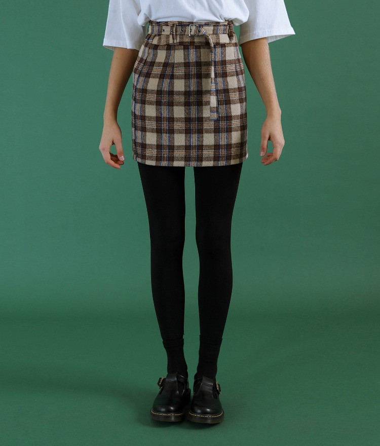 NEVERM!NDBelted Check Skirt