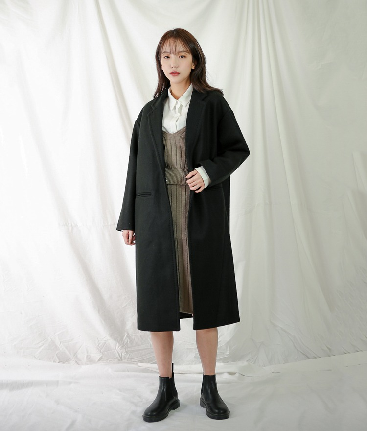 ESSAYNotched Collar Drop Shoulder Coat