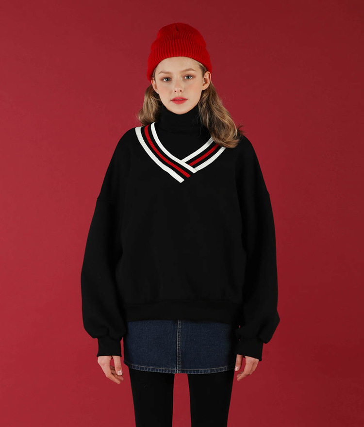 NEVERM!NDContrast Stripe V-Neck Sweatshirt