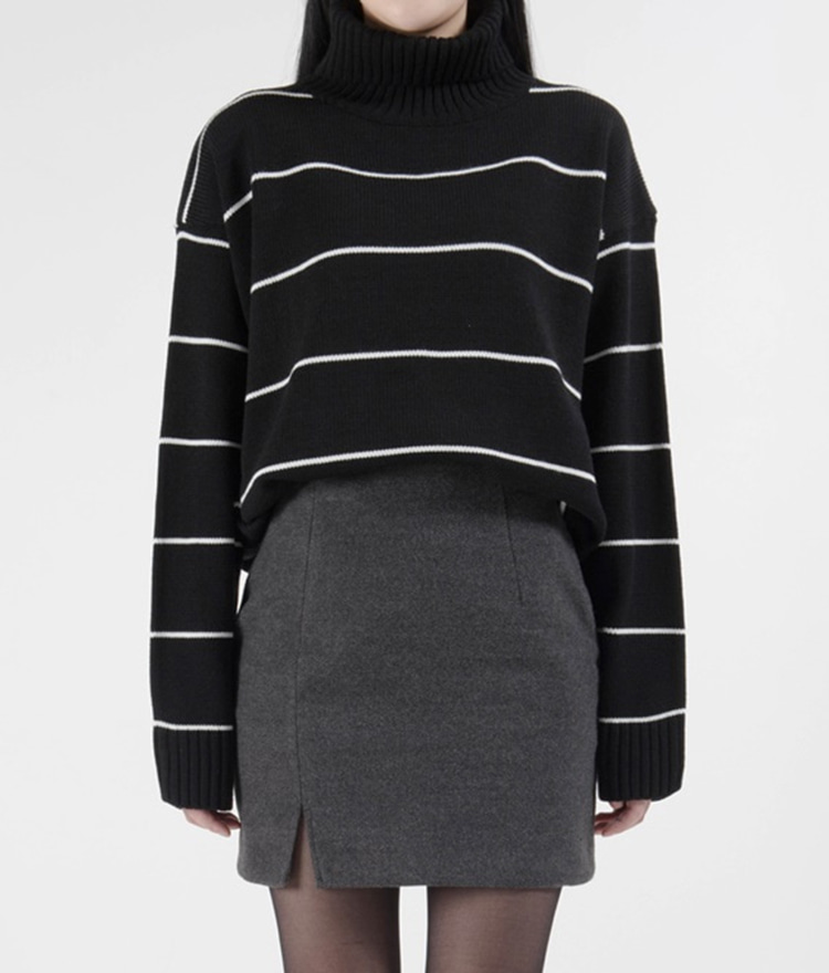 365BASICTurtleneck Stripe Knit Top