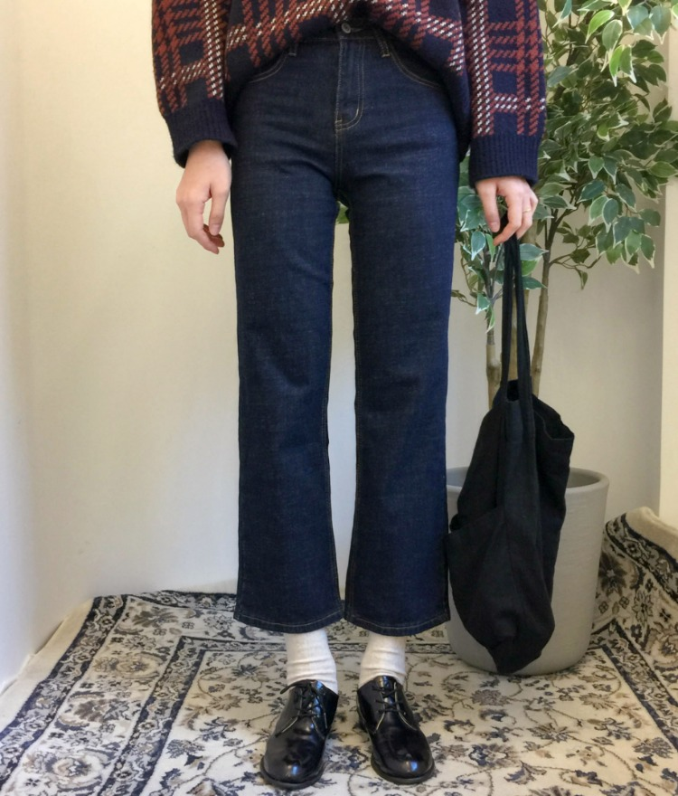 ESSAYContrast Stitch Straight Cut Jeans