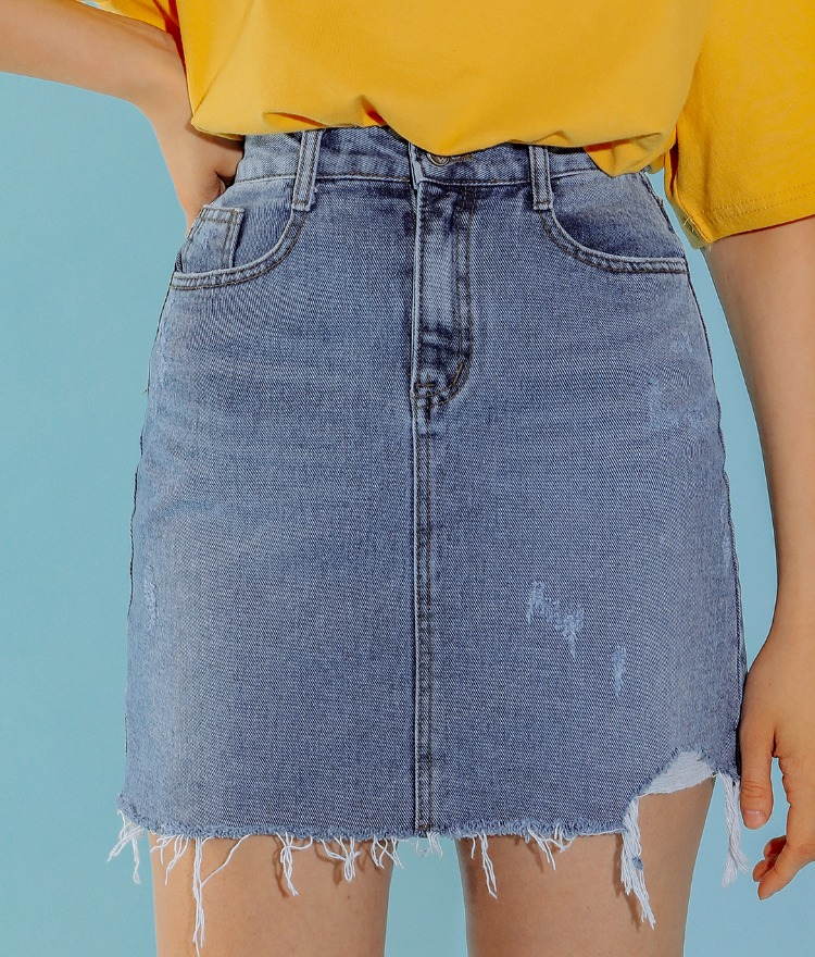 NEVERM!NDDistressed High Waist Denim Skirt