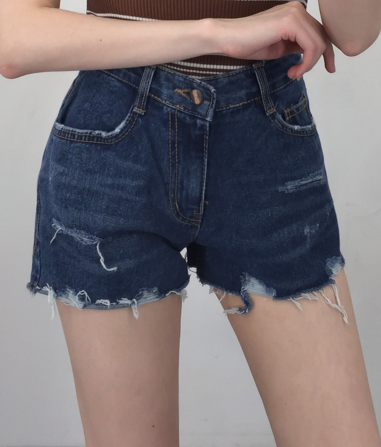 QUIETLABHigh Waist Distressed Denim Shorts