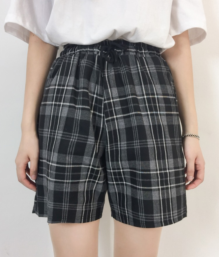 NEVERM!NDDrawstring Waist Check Shorts
