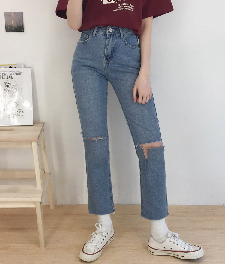 NEVERM!NDCutout Accent Straight Leg Jeans