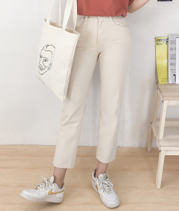 NEVERM!NDCropped Beige Cotton Pants
